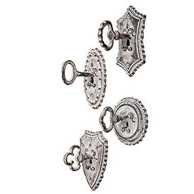 Vintage Oversized Key and Lock Hooks, Set of 4 - Cottage Style