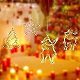 Luces Cadena Vacaciones,Luces de Decoración Navideña,Luces De Navidad Led Luz Colgante,Lámpara De Ventosa De Navidad Luz De Ventosa,Cadena de Luces LED,Led Cortina Cadena Luces (4A)