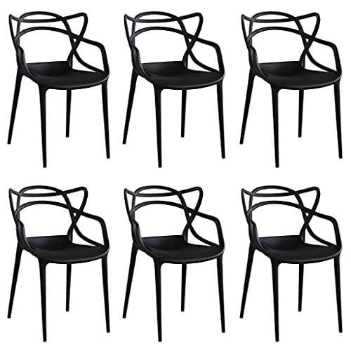 Milani Home s.r.l.s. Set di 6 Sedie in Polipropilene Plastica Nera di Alta qualità di Design per Interno E Giardino Stile Moderno per Sala da Pranzo, Cucina