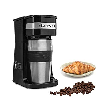 Mixpresso 2-In-1 Single Cup Coffee Maker & 14oz Travel Mug Combo   Portable & Lightweight Personal Drip Coffee Brewer & Tumbler Advanced Auto Shut Off Function & Reusable Eco-Friendly Filter