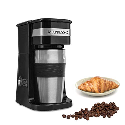 Mixpresso 2-In-1 Single Cup Coffee Maker & 14oz Travel Mug Combo | Portable & Lightweight Personal Drip Coffee Brewer & Tumbler Advanced Auto Shut Off Function & Reusable Eco-Friendly Filter