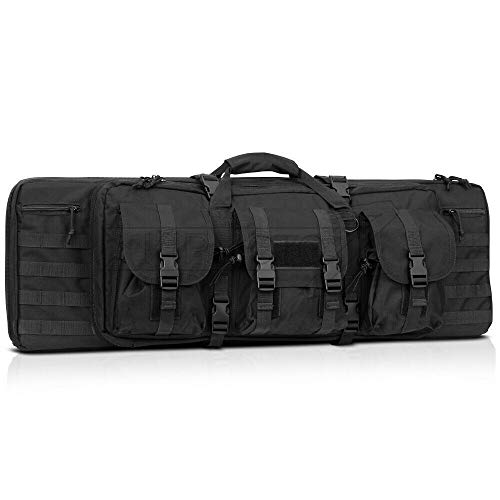 Heavy Duty 600D Double Carbine Rifle Bag Soft Gun Case Hunting Storage Backpack- Black- 36 Inch