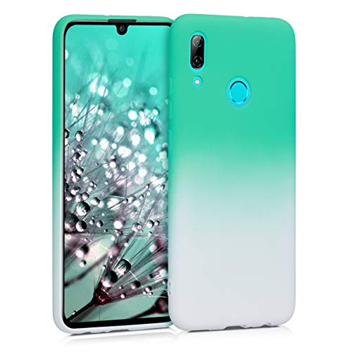 kwmobile TPU Silicone Case Compatible with Huawei P Smart (2019) - Soft Flexible Shock Absorbent Protective Phone Cover - Bicolor Mint/White