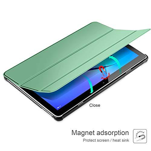 AROYI Hülle und Panzerglas kompatibel mit Huawei Mediapad T3 10, Schlank Schutzhülle Hochwertiges PU mit Standfunktion Glas Panzerfolie für Huawei Mediapad T3 10 Grüne Minze