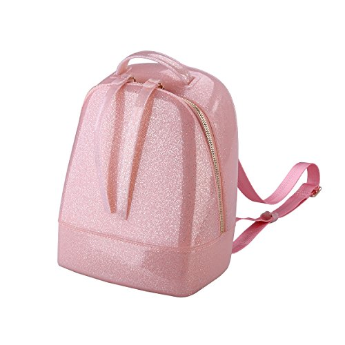 Tinksky Middle Size Jelly Backpack Cute Candy Color Backpack for Teenage Girls Silicone Waterproof Backpack School Women Bag Christmas Gift (Glitter Pink)