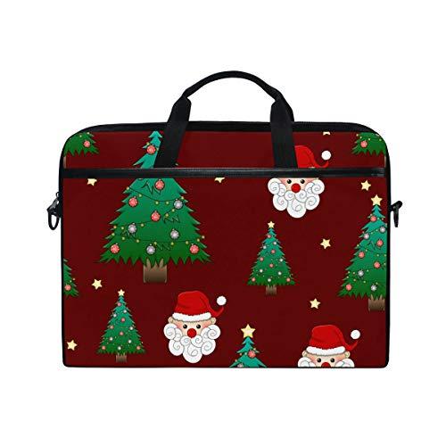 Ahomy 14-15,4 Zoll Laptop-Tasche, Weihnachtsbaum Weihnachtsmann aus Segeltuch Stoff Laptoptasche Bussiness Handtasche mit Schultergurt für Damen und Herren