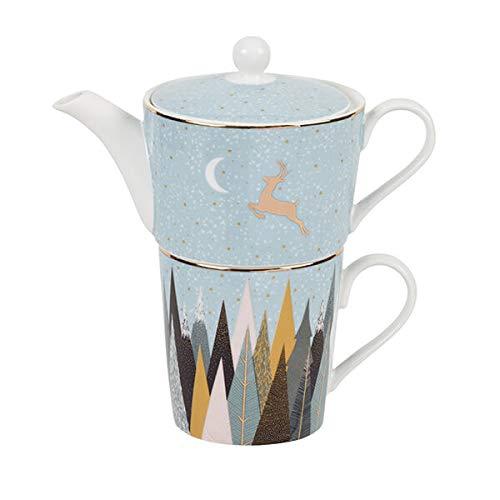 Portmeirion Sara Miller - Juego de té de Navidad con diseño de pinos esmerilados