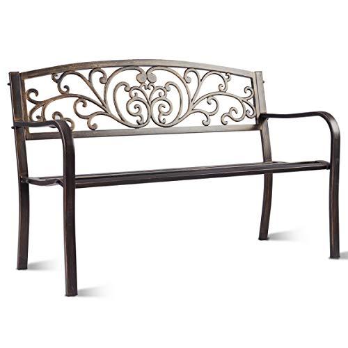 COSTWAY Gartenbank Parkbank Eisenbank Gartenmöbel Stahlrahmen, Ruhebank mit Rückenlehnen, Sitzbank aus Gusseisen, Metallbank (Bronze)