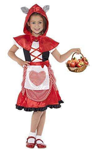 Smiffys Kinder Miss Hood Kostüm, Kleid und Kapuzenumhang mit angesetzten Wolfsohren, Größe: M, 41100