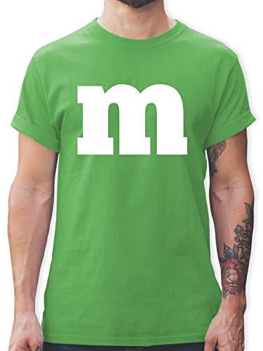 Karneval & Fasching - Gruppen-Kostüm m Aufdruck - S - Grün - L190 - Tshirt Herren und Männer T-Shirts