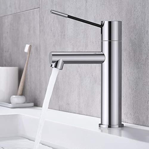 Synlyn Wasserhahn Bad Armatur Waschbecken Mischbatterie Badarmatur Chrom Einhand-Waschtischbatterie Waschtischarmatur für Bad Badezimmer