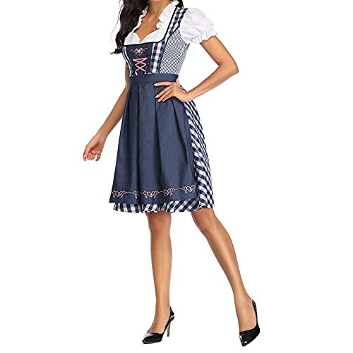 Conjunto de 3 piezas para mujer, diseo de Oktoberfest, estilo Dirndl, vestido formal, uniforme de criada, disfraz de bvaro, delantal, azul oscuro, XL