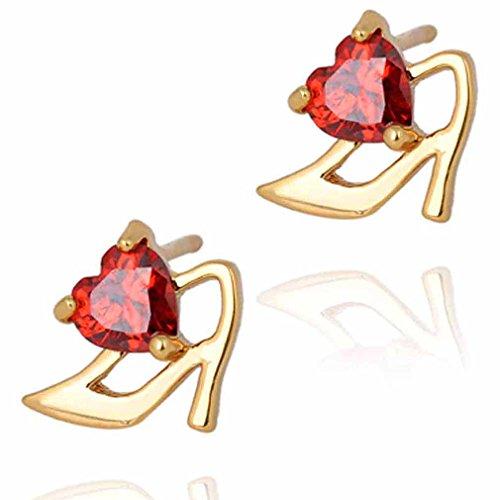 Yazilind Encanto liso chapado en oro rojo del corazón del embutido de Circonita cúbica de tacón alto pendientes de gota del cuelgan de Idea regalo de las mujeres