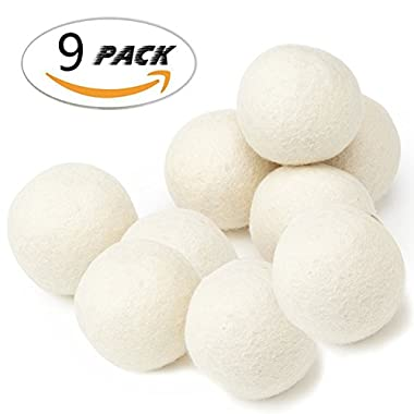 Wool Dryer Balls Organic,Baby Natural Fabric Softener,XL 6-Pack,Reusable Chemical Free Premium New Zealand Wool ,White