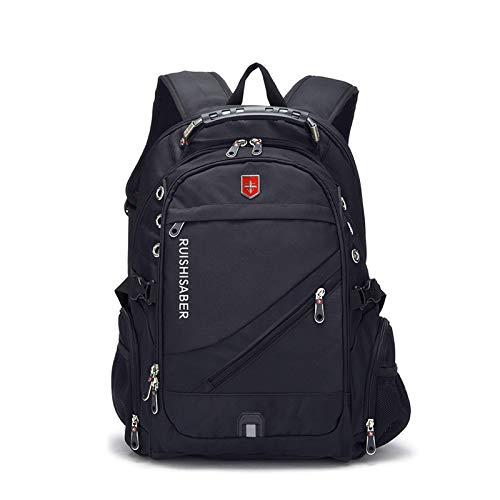 Mannen en vrouwen Rugzak Zakelijke Reistas Zwitsers Leger Mes Tas 17 inch Computer Tas Student Tas Zwart 15 inch