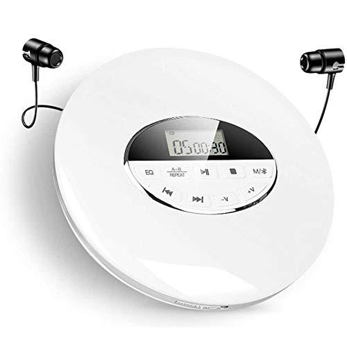 Adesign Reproductor de CD Bluetooth Reproductor de CD Personal portátil con Pantalla LCD Admite la Tarjeta TF Play Play con Cable Auxiliar para automóviles Audio de Audio (Color : White)