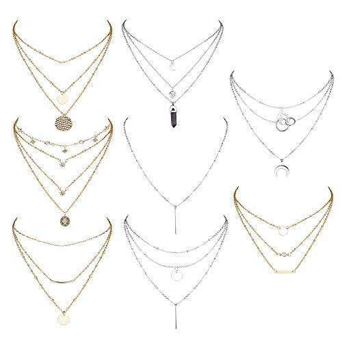 YADOCA 8 PCS Gold & Silver Tone Layered Necklace for Women Girls Sexy Long Choker Chain Y Necklace Star Moon Coins Pendent Necklace Sets