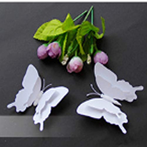 3D Double Layer White Butterfly Wall Sticker Home Decoration Butterflies On The Wall Magnet Fridge