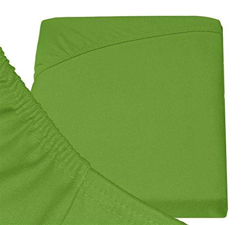 Double Jersey – Spannbettlaken 100% Baumwolle Jersey-Stretch bettlaken, Ultra Weich und Bügelfrei mit bis zu 30cm Stehghöhe, 160x200x30 Grün - 6