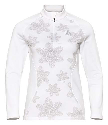 Odlo Midlayer 1/2 Zip Snowcross-White/AOP Fw19, Pullover-Femme, Femme, 293081-70732, White/AOP fw19, XL