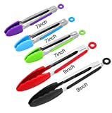 Silicone Kitchen Tongs, ForTomorrow Set of 5-7, 9 inch Heavy Duty Multi-Color Stainless Steel...