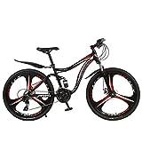 Kashyk Vélo VTT Fully, Carbon Steel MTB, convient à partir de 160 à 185 cm, frein à disque avant et arrière, 21 vitesses, suspension complète, homme, ABS, rouge, taille unique