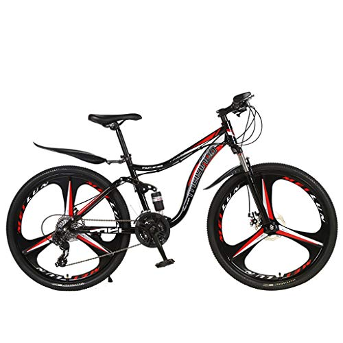 Lowest Prices! Sunnyadrain 26in 21 Speed Double Disc Brake Double Shock Absorption Mountain Bike Red