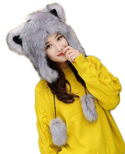 Fluffy Faux Fur Hood Hat & Ears for Wolf Bear Cat Costume