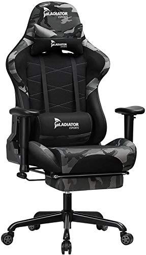 Gladiator E-Sports Gaming-Stuhl mit Neigefunktion und Fußstütze - Bürostuhl Gamer - Ergonomischer Stuhl - Einstellbare Armlehne - Camouflagemuster