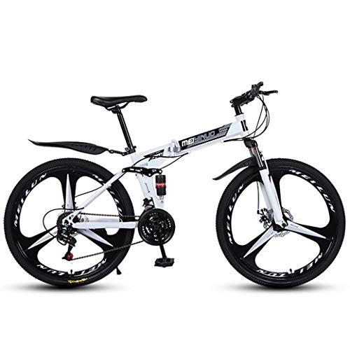 ZTYD 26' 21-Speed Mountain Bike for Adult, Lightweight Aluminum Full Suspension Frame, Suspension Fork, Disc Brake,White,C