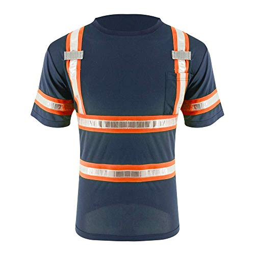 SMASYS Reflective Safety Work Shirts - High Visibility Short Sleeve T Shirts ANSI with Pockets and PVC Reflective Tape for Men,Women (XL) Orange-Navy