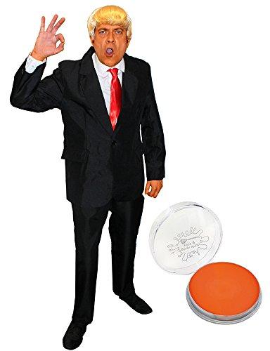 Disfraz de presidente de Estados Unidos para adultos  Peine rubio sobre peluca, corbata roja, traje negro y pintura facial anaranjada  Disfraz de comandante en jefe/disfraz de jefe (extragrande)