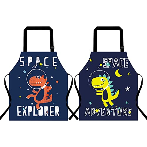 2PACK Cute Kids Dinosaur Apron for Boy Girl 3-5Y Artist Cooking Chef Apron with Adjustable Neck Strap Painting Apron for Grill Kitchen Baking( 19.6x15.7IN )