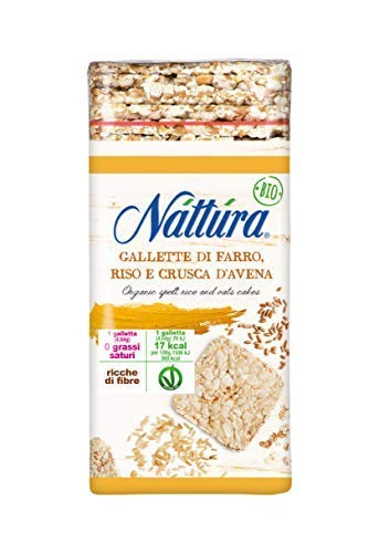 Nattura Gallette di Farro, Riso e Crusca d'Avena Quadrate Biologiche Vegano Ricche di Fibre - 1 x...
