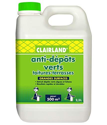 CLAIRLAND Bidon Anti-Dépôts Verts Toitures, Terrasses, Dallages, Murs, Concentré à diluer, 2.5L, CLAIRMOUS2500