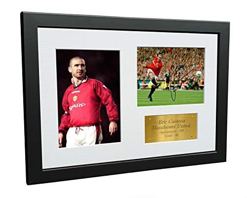 Kitbags & Lockers Eric Cantona 12x8 A4 Manchester United gesigneerd gesigneerd foto fotolijst Voetbal Gift Goud