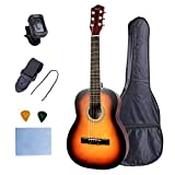 Kids Acoustic Guitar Beginner Child Steel Stings Guitar 30 inch 1/4 Size with Clip Tuner Strap Picks and Wipe Learn to Play Sunset