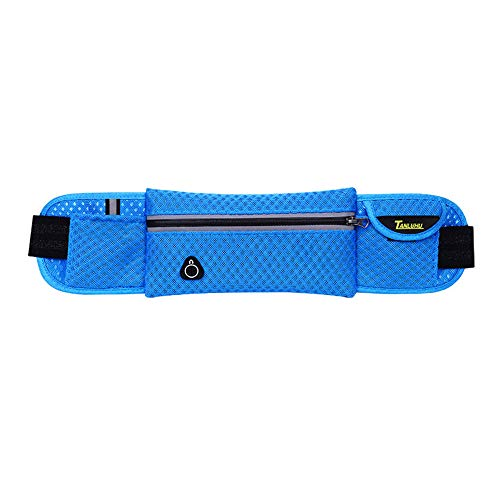 dnghuncun dnghuncun Taillengürtel für Telefonkarten, mit Kopfhöreranschluss, verstellbares Gummiband, Damen, blau