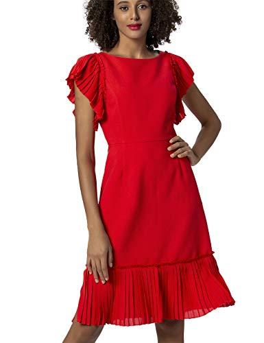 APART Damen Sommerkleid mit plissierten Volants, rot, 44