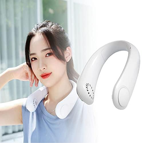 Ventilador de cuello portátil, ventilador de cuello recargable, 4000 mAh, silencioso, USB, portátil, sin aspas para el hogar, al aire libre, cuello, ventilador, color blanco
