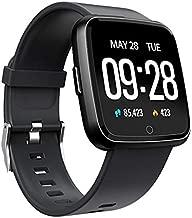 Semoic Smartwatch Y7 Heart Rate Blood Pressure Monitor Bt4.0 Waterproof Smart Watch for Men Women Long Standby Time(Black)