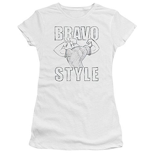 Trevco Johnny Bravo-Bravo - Camiseta de manga corta para niño, color blanco y 2 X