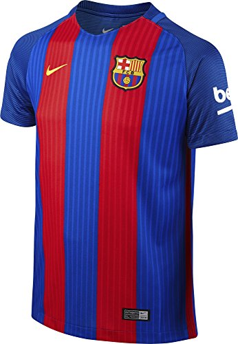 Nike FCB YTH SS Hm Stadium JSY Camiseta Línea F.C. Barcelona, Niños, Azul (Sport Royal/Gym Red/University Gold), XS