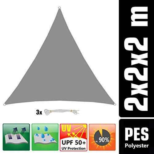 AMANKA UPF50+ UV Sonnensegel 2x2x2 Polyester Dreieck Wasserabweisend Wetterfest Garten Balkon Grau