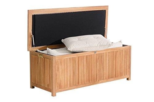 CLP Auflagenbox Odessa aus Teakholz I Gartentruhe für Kissen und Auflagen I In verschiedenen Größen erhältlich, Farbe:Teak, Größe:140 cm