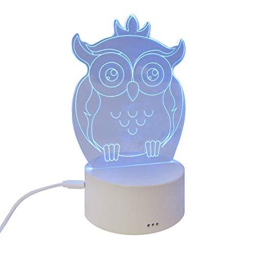 Lámpara 3D, Luz Led Nocturna De Ilusión 3D para Niños, 7 Colores de Luz, Buho, Luz de Noche (Buho)