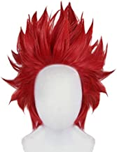 Anogol Hair Cap+Short Red Anime Cosplay Wig Synthetic Hair Wavy Wigs Fancy Dress Costume Party