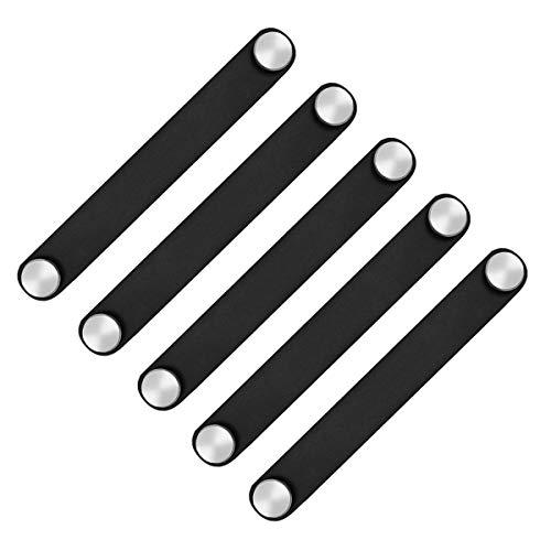 POFET 5 st nordisk garderob skåp dörrhandtag mjukt PU-läder dörrhandtag för skåp låda dragknappar möbler hårdvaror (26 x 170 mm) - svart