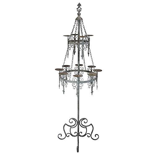 Design Toscano Malbark Castle Gothic Decor Floor Candelabra Candle Holder, 63 Inch, Metalware, Grey Patina
