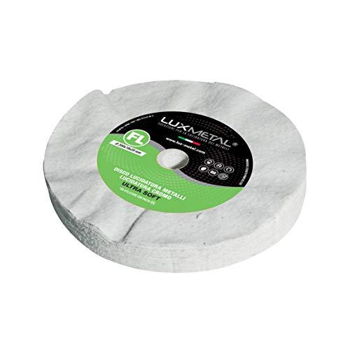 Polierscheibe Lux Metal aus Baumwolle Flanell weich FL Ultra Fein 200 mm zum Polieren von Spiegeln Aluminium Edelstahl Messing Kupfer Bronze Eisen Chrom Llexan Plexiglas